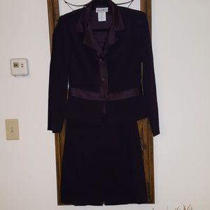 Deep purple suit, jacket and skirt